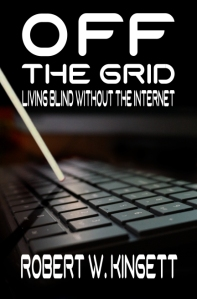 The Off the Grid book cover, featuring a white cane tapping out the title on a laptop keyboard